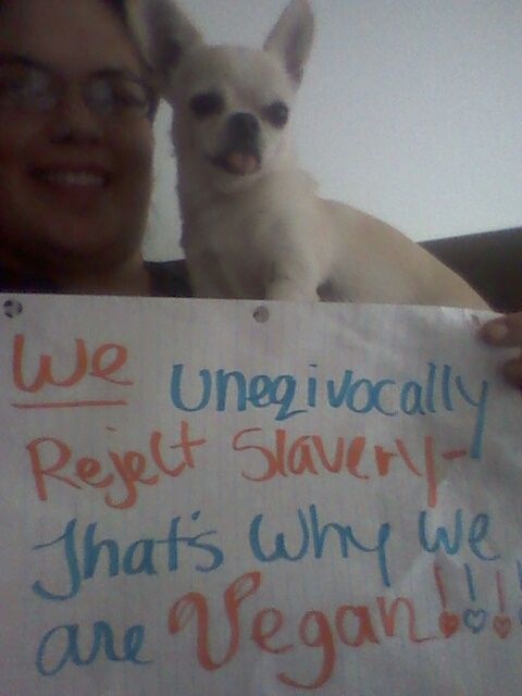 """Adrienne with her friend Rocco (vegan): I unequivocally reject slavery, that's why I'm vegan"""""""