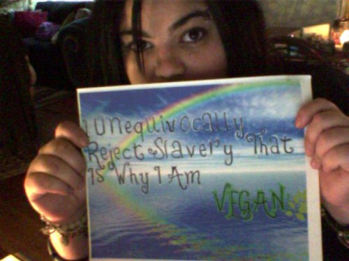 """Alex """"I unequivocally reject slavery that's why I'm vegan"""""""