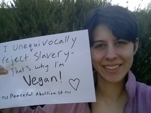 """Emmy  """"I unequivocally reject slavery, that's why I'm vegan"""""""